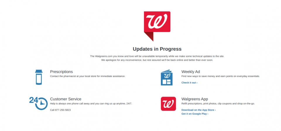 Walgreens site - updates in progress
