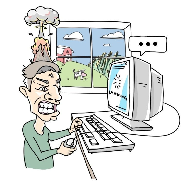 Slow Computer Rage cartoon