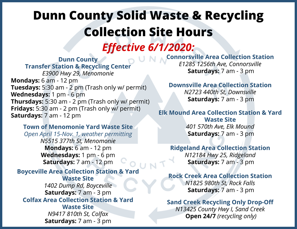 Dunn County Waste Hours