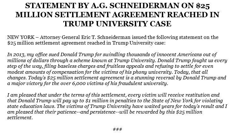 Trump Settlement Statement